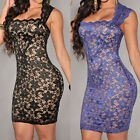 Illusion Party Cocktail Evening Bodycon Vintage Women Dress Royal-Blue Lace Nude