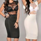 Black White Ivory Sheer Party Cocktail Lace Formal Evening Dress Women Sexy New