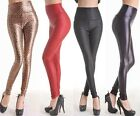 Skinny Faux Leather Fashion Pants Tights New Black Red Womens Shinny High Waist
