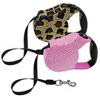 10ft Bling Rhinestone Retractable Dog Leash Pet Cat Outdoor Walking Lead Pink