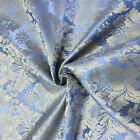 "Light Blue/Gold Damask Jacquard Brocade Fabric 118"" By the Yard Many Design"