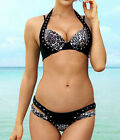Women Swimwear Cheetah Rivet Halter Top Beach Pant Push up Bikini 2015 New Set