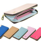 Leather Smart Zip Wallet Credit Card Case Purse for iPhone Samsung Galaxy HTC