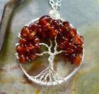 Petite-Mini-Small Hessonite Orange Garnet Tree of Life Pendant Necklace