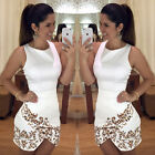 New Slim Women's Leopard Printed Sleeveless O-neck Irregular Mini Bandage Dress