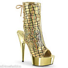 SEXY PLEASER PLATFORM DELIGHT-1018hg GOLD HOLOGRAM/SILVER CHROME ANKLE BOOTS
