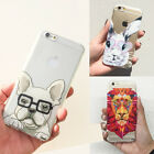 US Cute Animals Hard Back Transparent Case Cover Skin For iPhone 5 5S 6 6S Plus