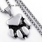 Bear Claw Paw Gay Pride Solid Stainless Steel Pendant Box Chain Necklace set
