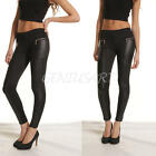 Ladies Womens Faux Leather Panel Leggings Stretch Skinny Black Zip Trousers
