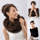Lady knitting Real Farm Mink fur Cape Shawl Neck Warmer Scarves New Year Gift