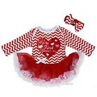 Baby My First Valentine's Day Heart Red Chevron Long Sleeves Bodysuit Tutu