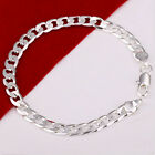 Men's 8MM Silver Plated Bracelet Charming Bangle Fashion DIY Jewelry Bracelets M