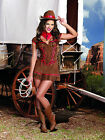 Sexy Adult Halloween DreamGirl Women's Giddy Up Cowgirl Costume w Hat