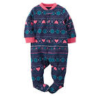 Charter's Girls Navy/Pink/Blue Snowflake & Hearts Fair Isle Print Zip Up Microfl