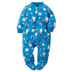 Carter's Boys Blue Snowman Print Zip Up Microfleece Sleep 'n Play Footie