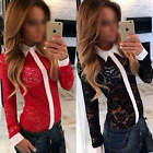 OL Women's Sexy Long Sleeve Lace Office Hollow Lapel Slim Blouse T-shirt Top Tee