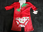 "Baby Girls 4 Piece ""super sweet"" Strawberry Layette Starter Clothes Gift Set."