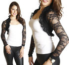 Black Lace Crochet Ruffle Collar Shrug Bolero Jacket Shrug Cropped Cardigan Top