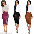 New Womens Wet Look High Waist Leather Stretchy Bodycon Pencil Skirt Midi Dress