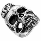 Punk Rock Elvis Style Mens Biker Retro Stainless Steel Skull Ring Band Size 7-12