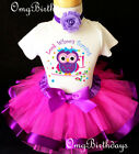 Owl Pink Purple Rainbow Look WHOO's 1st Baby Birthday Shirt Tutu Outfit Set girl