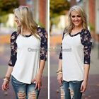 New Womens Fashion Long Sleeve Lace Blouse Loose Cotton Tops Casual T Shirt