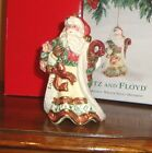 FITZ AND FLOYD Christmas Wreath Santa Ornament 2001 NEW IN BOX
