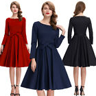 Formal Cocktail Long Sleeve Evening Bow Retro Vintage Party Dress