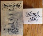 PSX Lot of 2 You're Invited G-1242 Thank You C-732 Rubber Stamps