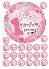 "1ST BIRTHDAY PRINCESS 7.5"" ROUND CAKE TOPPER & CUPCAKE TOPPERS ICING WAFER RICE"