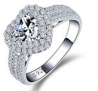 2 Ct Diamond Sterling Silver Heart Shaped Engagement Ring FREE Shipping Gift Box