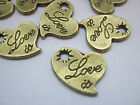 """Love Heart Charms Label Tags 13mm (1/2"""") Valentine's Day Bronze Love Charms"""