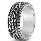 Stainless Steel Black Oxidized Band Car Tire Design Good Luck Ring Sizes 8-16