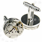 Round Watch Movement Cufflinks Clockwork Gear Mens Vintage Wedding Gift