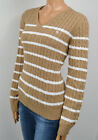 RALPH LAUREN TAN WHITE STRIPED V-NECK CABLE KNIT SWEATER NWT