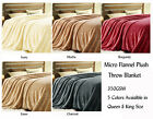 Super Soft Micro Flannel Microfibre Plush Throw Blanket 350GSM Queen King Size
