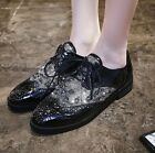 Womens Rhinestone Mixed Color Lace Up Fashion Flat Casual Oxfords Shoes Size H69