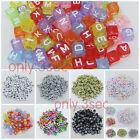 100 pcs 6x6mm Acrylic Mixed Alphabet Letter Square Cube Loose Spacer Beads Pick