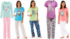 Ladies 100% Cotton Summer Pyjamas Plain Floral T-Shirt Full Length Aqua Pink