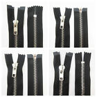 "6"" - 30"" No 5 & No 8 BLACK OPEN & CLOSED METAL TEETH ZIPS *14 LENGTHS ZIPPER SEW"
