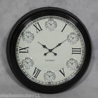"Large Wall Clock - Six Time Zone - Black with White Face 63cm (24.75"") Diameter"