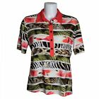 Frank Walder Ladies Designer Animal, Leaf Jungle Print Collared Polo T-Shirt Top