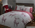 Highland Stags Double Duvet Cover Set in Red