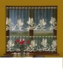 CAFE NET CURTAIN-BEIGE FLOWERS-ON BLACK WARP-TWO DROPS-SOLD BY METERS