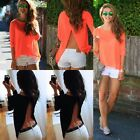 2016 Sexy Women Summer Tops Tee Long Sleeve Shirt Casual Blouse Loose T-shirt