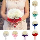 Wedding Bouquet Bridal Bridesmaid Aartificial Rose Flower Ribbon Pearl Decor