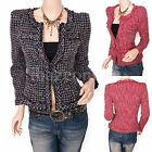 Gorgeous Sparkles Career Tweed Lined Cardigan Short Blazer Jacket