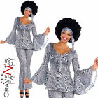 Dancing Queen Costume Ladies 1970's Fancy Dress Disco Diva Ab Outfit New Ba