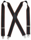 "Heavy Duty 2"" Wide Suspenders Orange Stripes on Black Terry Choose Your Size"