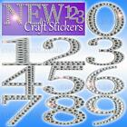LUXURY CRAFT STICKERS NUMBERS 5cm large Diamante glitter Strong adhesive back